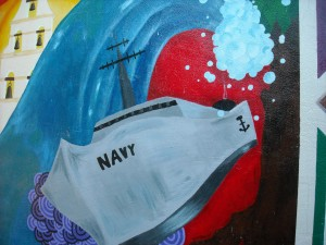 Take a trip and see some wonderful things. Here is a mural of a Navy Ship; Old Town San Diego.