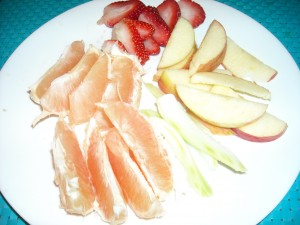 Cut up some fruits and veggies. They are packed with vitamin C and taste so good~