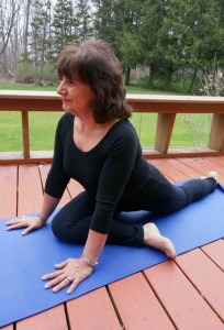 As you move into yoga asanas, be aware of your posture; shoulders are back and straight